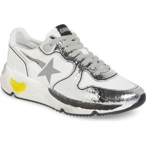 Golden Goose Silver Running Sole Sneaker